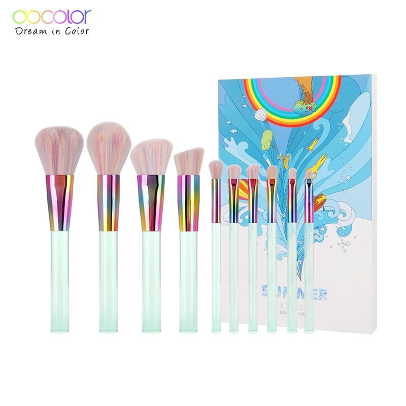 Docolor Nye 10PCS Makeup børster Sæt Lysegrøn Transparent Håndtag med Farverig Bristle Make Up Børster Super Blødt Hår