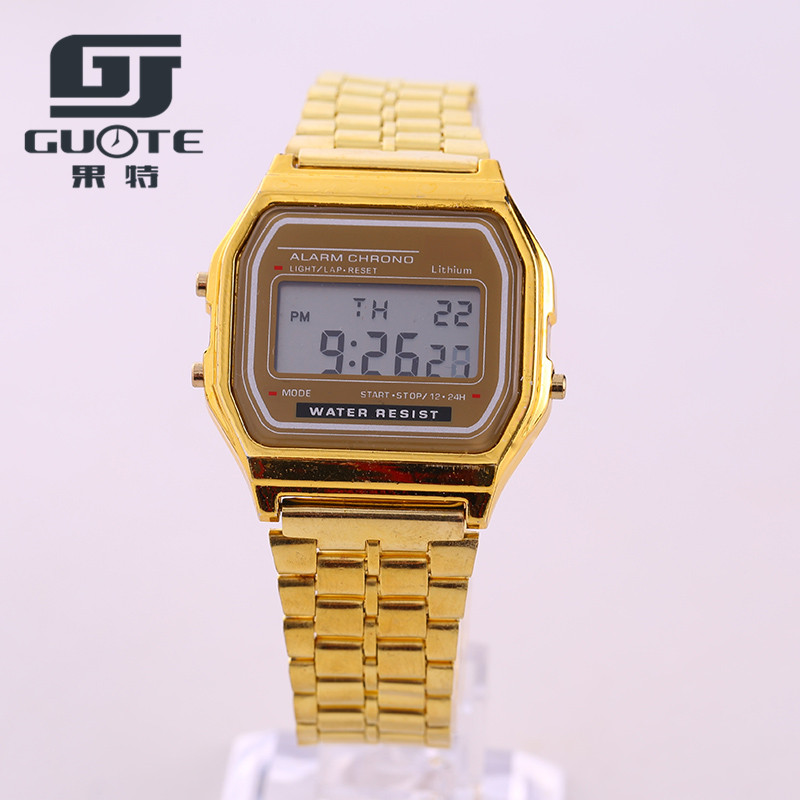2017 Fashion Guote Brand Gold Alloy Watch Strap Color Vintage Stainless Steel LED Digital Alloy Wrist watches With Free Shipping