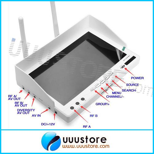 2015 Top Fashion Rushed Fpv Monitor Fpvok Rx Lcd 5802 LCD5802 5.8ghz Diversity Receiver 7 Inch White Monitor