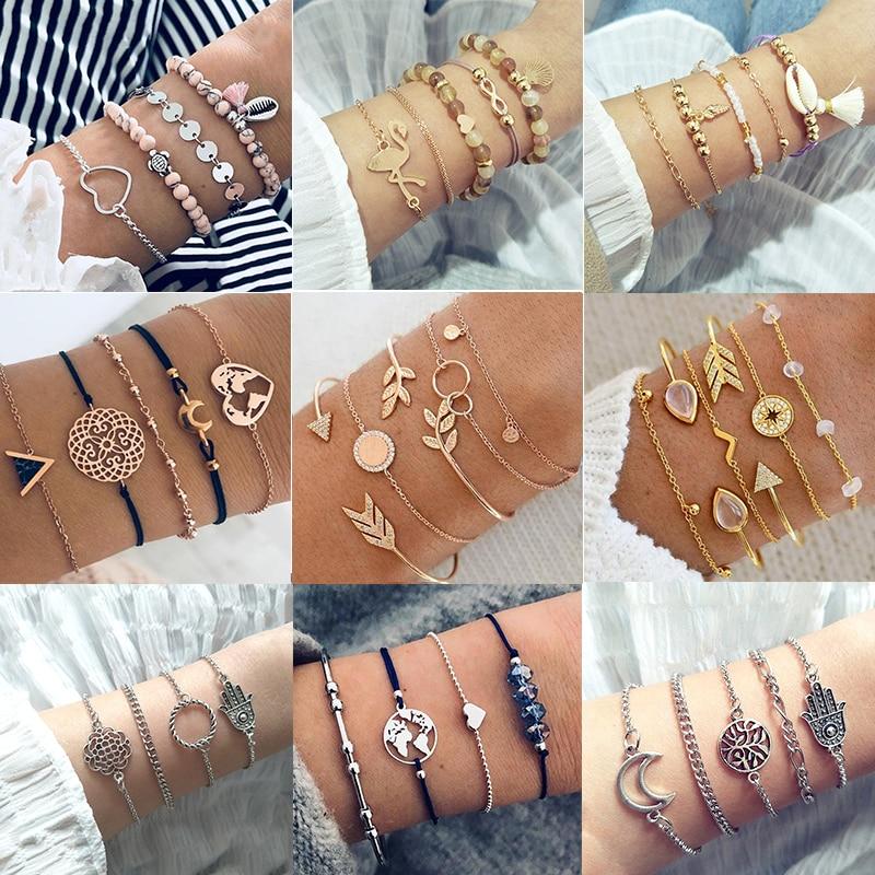 30 Style Female Boho Map Heart Beads Moon Arrow Turtle Kitten Elephant Pendant Tassel Chain Leather Bracelet Set  Combination