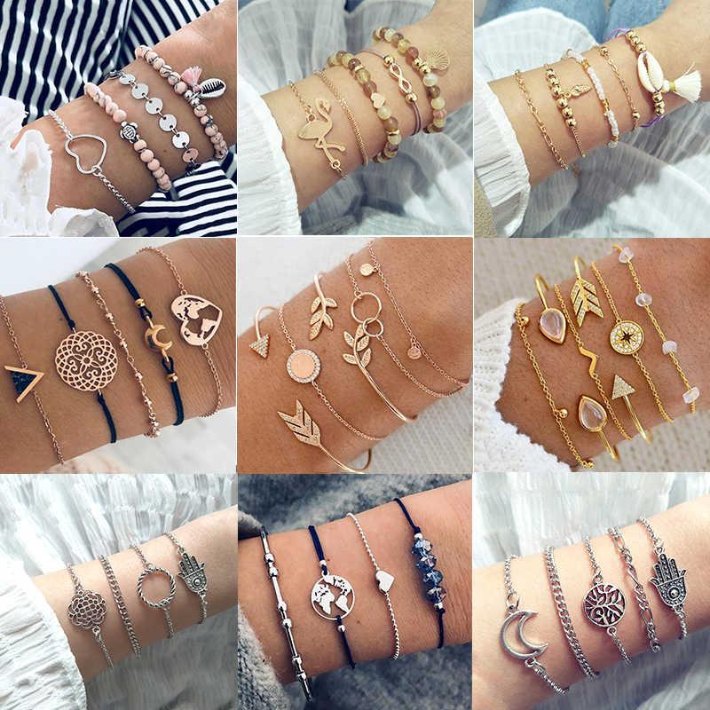 30 Style femme Boho carte coeur perles lune flèche tortue chaton éléphant pendentif gland chaîne en cuir Bracelet ensemble combinaison