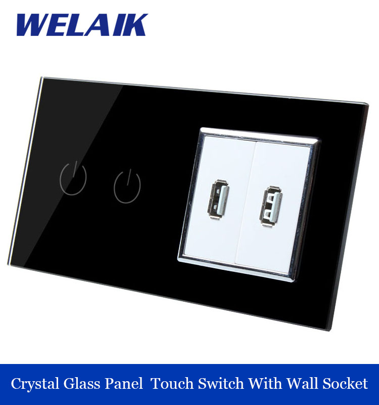 WELAIK 2 frame 2Gang1Way USB socket Crystal Glass Panel  Wall Switch EU Touch Switch Screen AC110~250V A292182USW/B smart home eu touch switch wireless remote control wall touch switch 3 gang 1 way white crystal glass panel waterproof power