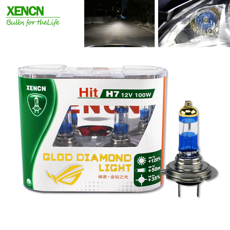 XENCN Xenon H7 12V 100W 4300k Gold Diamond Replacement  Car Headlight Halogen Auto Fog Lamp 30% More Ligh 75M Beam New 2 Pos