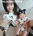 Vestidos de madre e hija familia de dibujos animados de ropa a juego del verano niños de manga corta T-shirt bebé mameluco ropa de la madre y el hijo