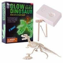 Equipo de excavación en 3D de dinosaurios que brillan en la oscuridad, juguete artesanal para excavación de ciencia, figura de acción para niño, juguetes educativos para niño, tipo aleatorio