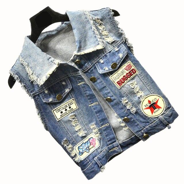 dbf827f7a4e4 Autumn Denim Vest Women Casual Colete Sleeveless jacket Coat Vintage Patch  Designs Turn-down Collar