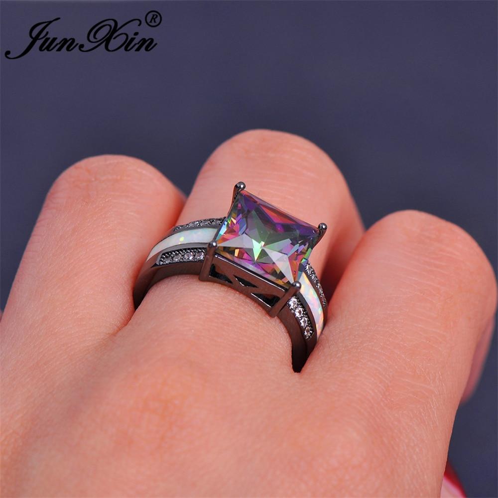 JUNXIN Female Mystery Rainbow Ring White Fire Opal Ring Black Gold ...
