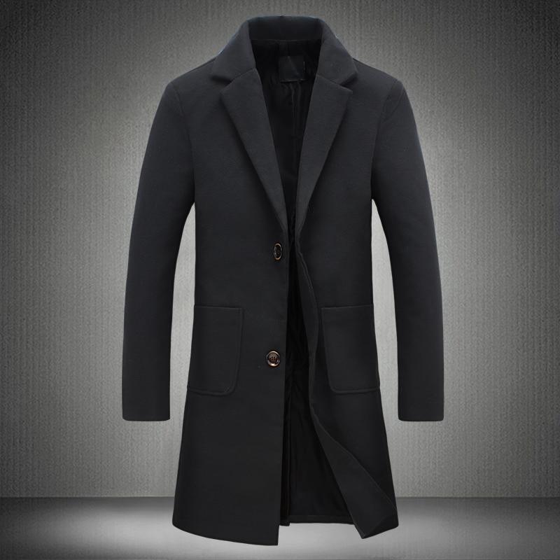 2017 New Autumn Winter Trench Coat Men Turn-Down Collar Slim Fit Overcoat for Man Long Coat Windbreaker 5XL