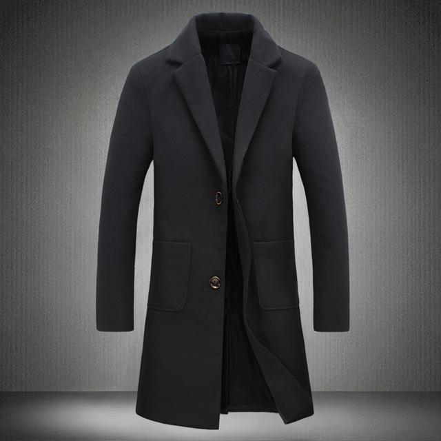 2017 Nueva Otoño Invierno Trench Coat Hombres Turn-Down Collar Slim Fit Abrigo para Hombre Abrigo Largo Cazadora 5XL