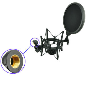 Image 2 - SH 100 Hot Sale Microphone Mic Professional Shock Mount with Pop Shield Filter Screen for long thread microphone