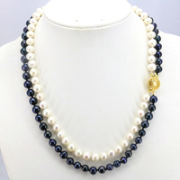 2 Row Black White Pearl Necklace 7 8mm 17 18 Inches 2 Piece Lot DIY Beaded