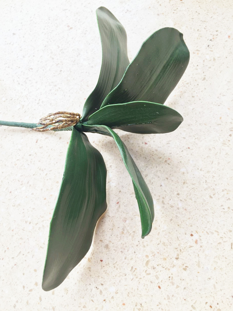6tk võlts orhidee lehed kobaras kunstlik 5 lehed rohelus 28cm - Pühad ja peod - Foto 1