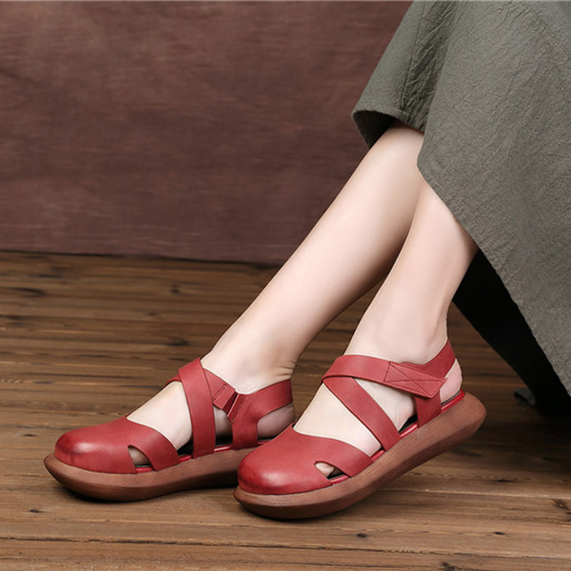 1fc17b06faa8 Mori Girl Style Women s Flats Shoes Closed Toe Genuine Leather Hand Made  Platform Shoes Woman Round Toe Mary Jane Shoes Women
