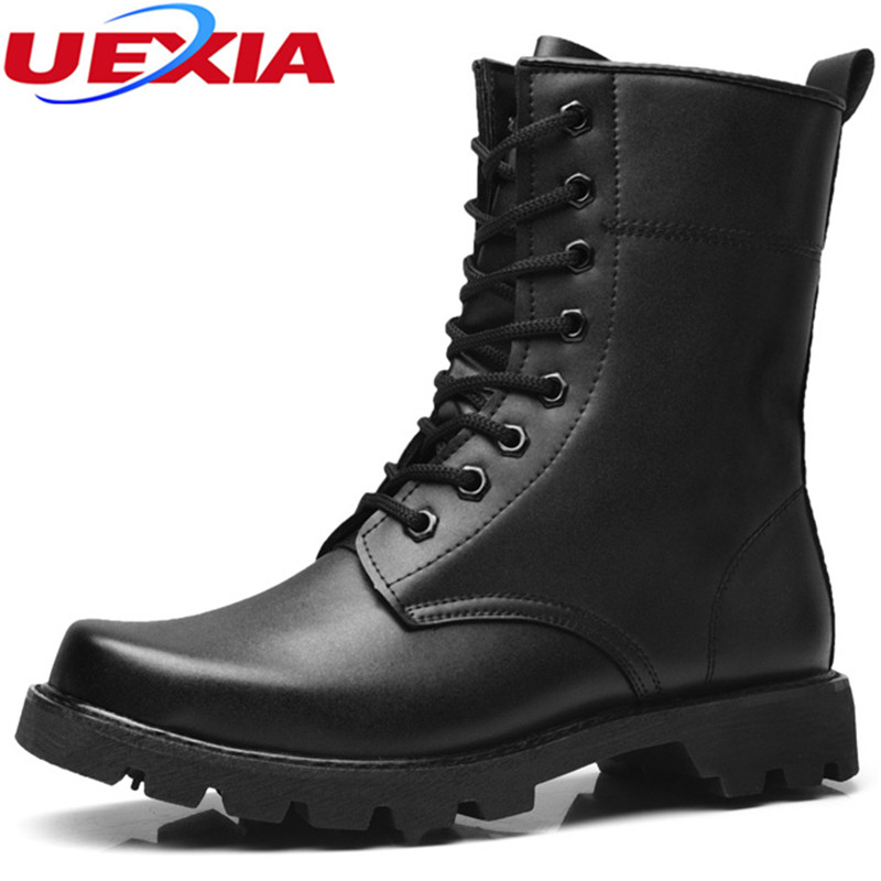 UEXIA Fashion Leather Ankle Men Boots Winter Snow Warm Men's Boot Lace-up Europe Men Shoes Fur Motorcycle Heavy soled Moccasin xiaguocai new arrival real leather casual shoes men boots with fur warm men winter shoes fashion lace up flats ankle boots h599