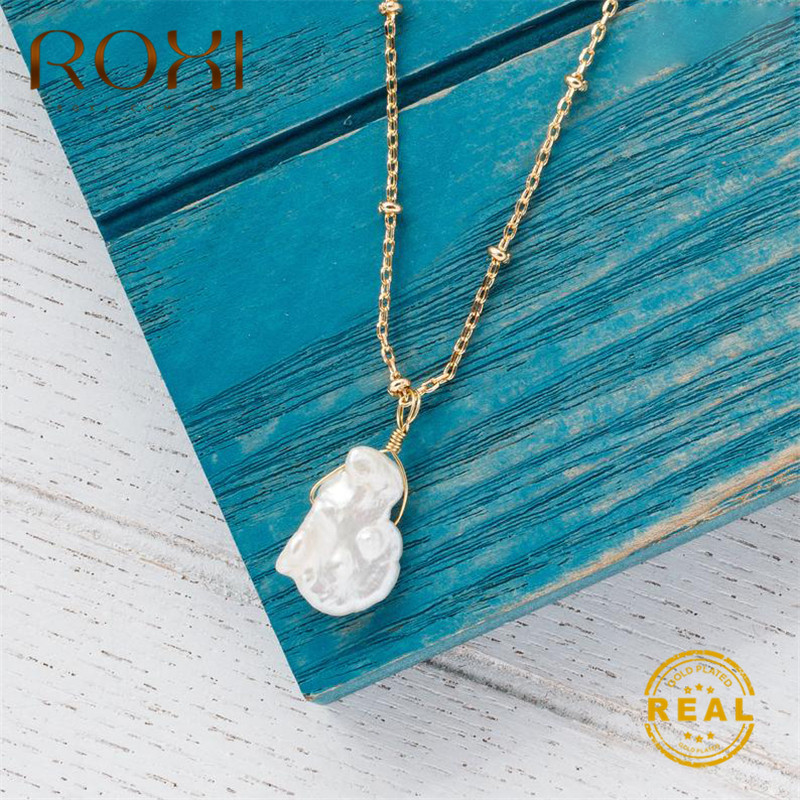 ROXI 2019 New Baroque Pearl Necklace for Women Real Natural Freshwater Jewelry Copper Long Chain Pendant Kolye