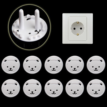 10pcs Bear EU Power Socket Electrical Outlet Baby Kids Child Safety Guard Protection Anti Electric Shock Plugs Protector Cover 1