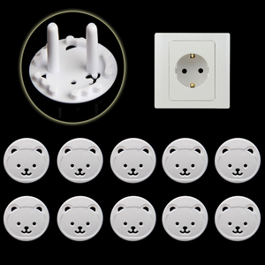 10pcs Bear EU Power Socket Electrical Outlet Baby Kids Child Safety Guard Protection Anti Electric Shock Plugs Protector Cover(China)