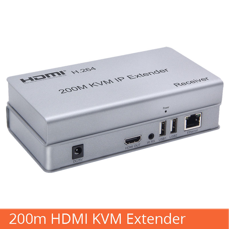 hdmi kvm extender 200m hdmi to RJ45 network cable amplification transmission with USB interface mouse keyboard extension in Computer Cables Connectors from Computer Office
