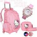 Hello kitty школьные сумки для девочек дети прокатки рюкзак путешествия тележки мешок школы рюкзаки колеса bolsas mochilas femininas
