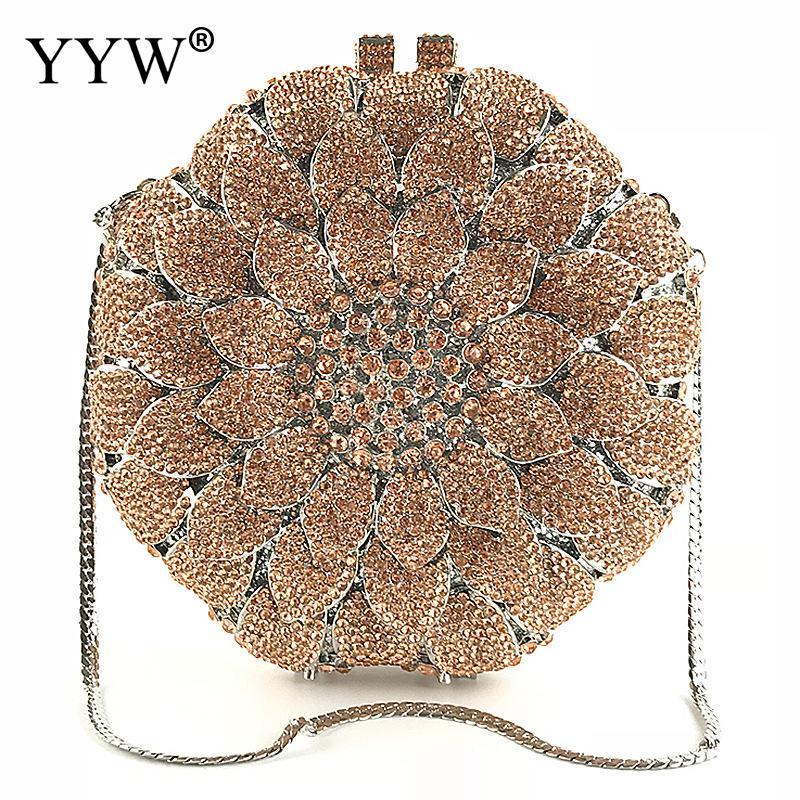 купить 2018 Luxury Flower Metal Crystal Clutch Evening Party Bags For Women Diamond Chain Shoulder Bag Handmade Purse Clutches Dropship онлайн