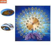 UzeQu Special Shaped 3D Diamond Embroidery Peacock Wall Clock 5D DIY Diamond Painting Cross Stitch Diamond