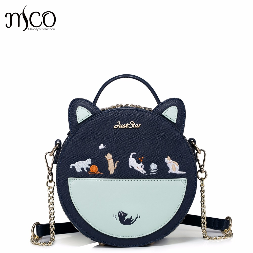 ФОТО New Brand Design Cats Embroidery Chains PU Women Leather Girls ladies Ladies Handbag Shoulder Small Round Bag bolsos