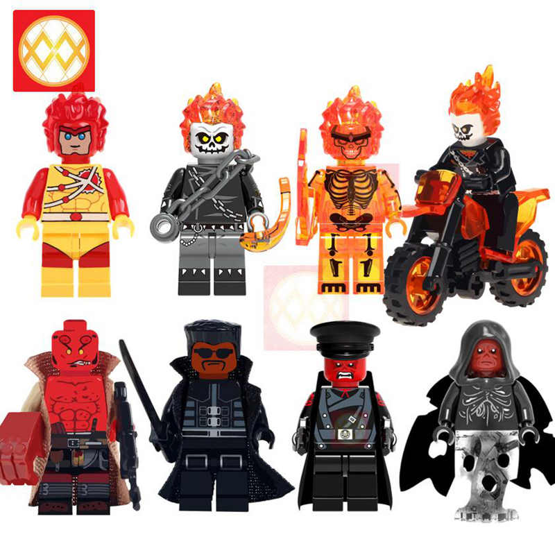 Marvel s Super Heroes Ghost Rider With Motorcycle Red Skull Firestorm friend Hell Boy Building Blocks Bricks Kids Toys