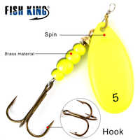 FISH KING Spinner Bait 0#-5# Spoon Lures pike Metal With Treble Hooks 35647-BR Arttificial Bass Bait Fishing Lure