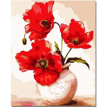 WEEN kırmızı çiçek sayılar tarafından DIY boyama, tuval boyama ev duvar sanatı, resim boyama boya ev dekor için sayılar tarafından 40x50cm