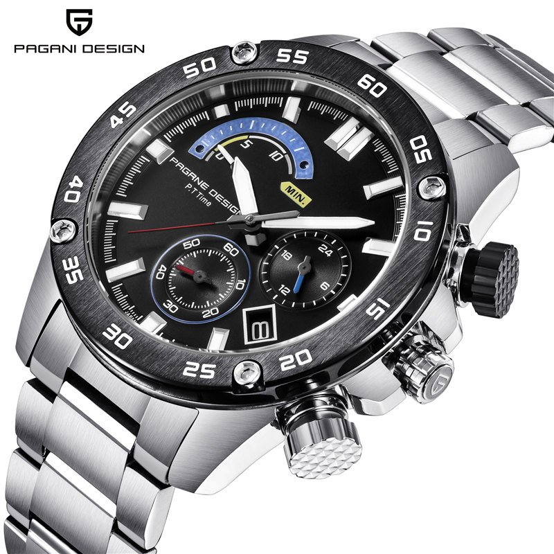 2018 NEW PAGANI DESIGN Top Luxury Brand Men Sport quartz watch military timing stainless steel quartz watch waterproof Men watch pagani design men watch top brand luxury stainless steel leather sport military watch male quartz wrist watch men clock 2018 new