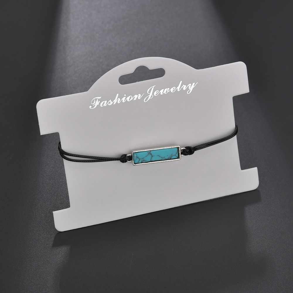 2019 новая простая элегантная уличная мода Регулируемая цепочка красочный камень Прямоугольный кулон браслет с надписью для женщин