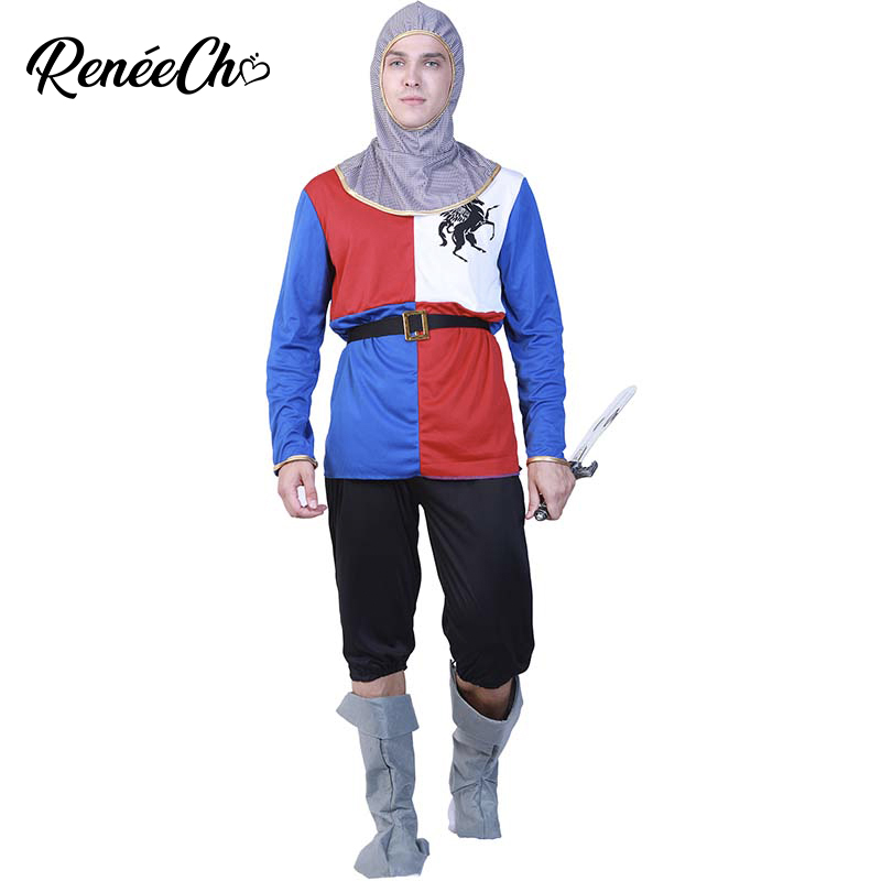 2018 halloween costumes for men adult Men Medieval Knigt Costume Crusader Costume Role Play Soldier Cosplay Carnival Carnival