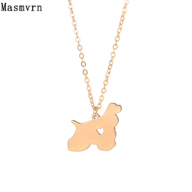 Fashion Jewelry Cocker Spaniel Necklace Dog Pendant Jewelry Choker Breed Pets Long Chain Everyday Bijoux For Women Men Gifts