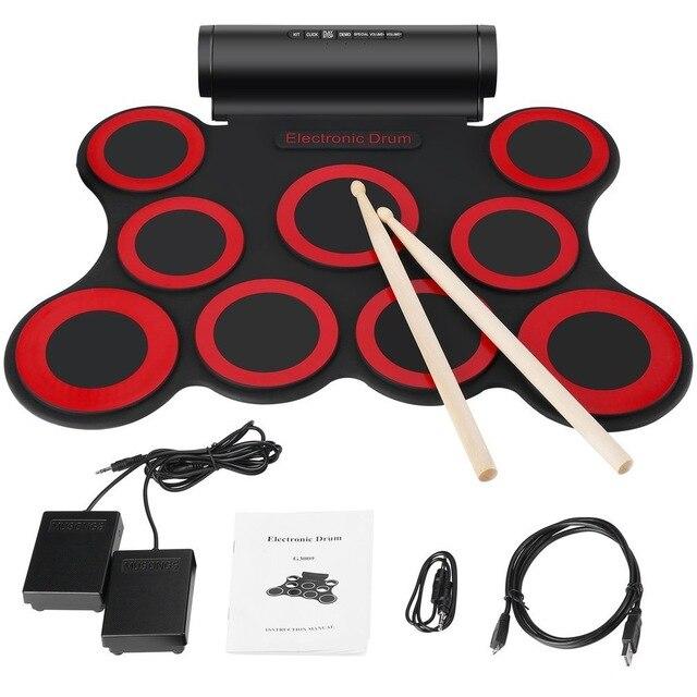 Batterie électronique numérique Kit de batterie enroulable Portable 9 tampons de batterie en silicone intégrés doubles haut-parleurs 3 W alimentés par USB avec baguettes Fo