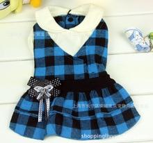 2016 newest Scotland style pet dress high quality cotton plaid dog skirt pet dog clothing 2