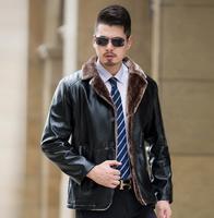 Winter plus velvet jaqueta de couro masculino chaqueta cuero hombre leather jacket men casual mens coats fleece suit collar 5XL