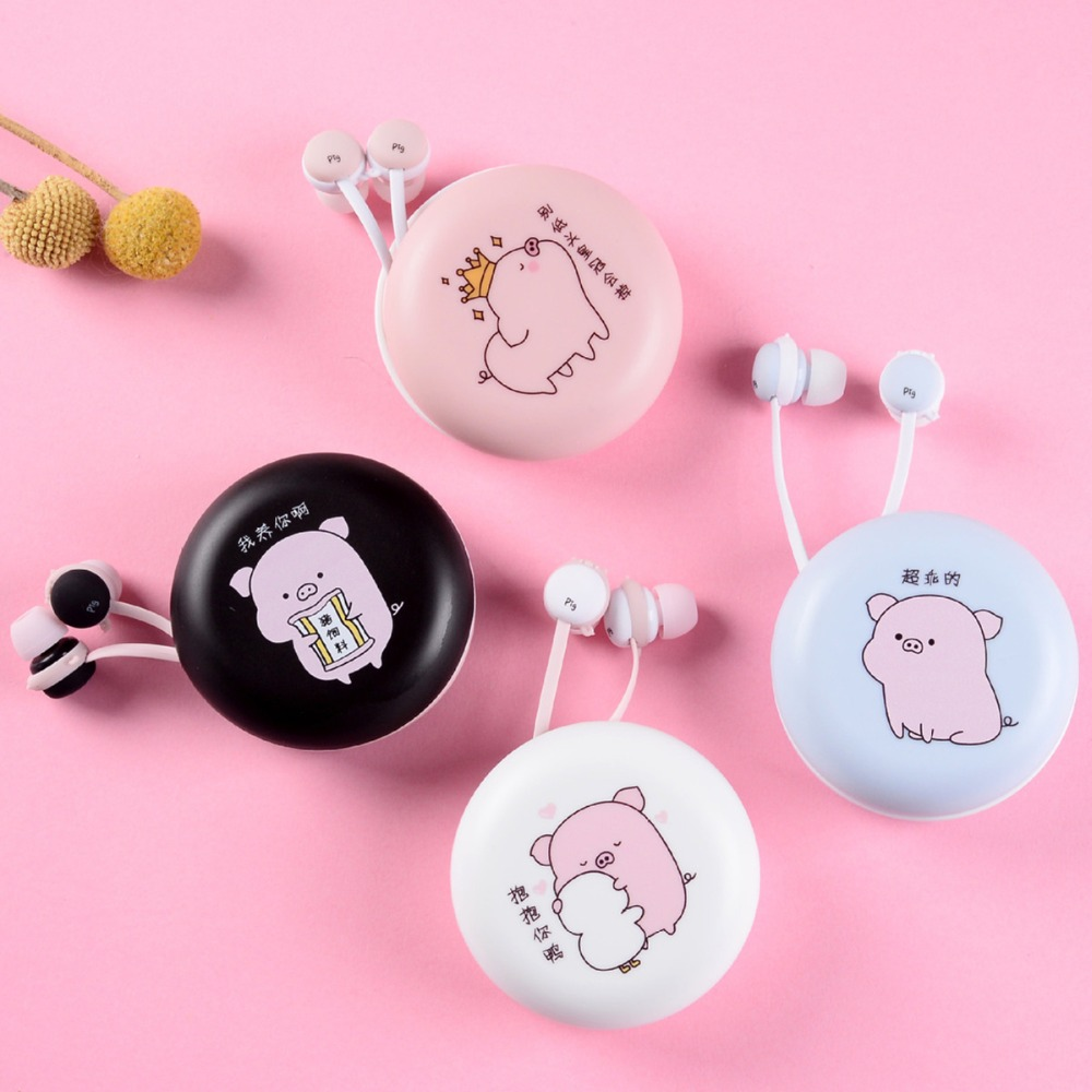 Cute Pig Stereo Earphones Wired Earbuds With Earphone Case With Mic For Children Girl Kid For Xiaomi Samsung IPhone Mobile Phone
