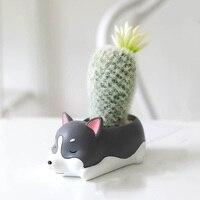 Dog Shape Flowerpot Concrete Mold Candle Holder Cement Clay Mould Succulent Plants Mini Pot Plaster Silicone Molds