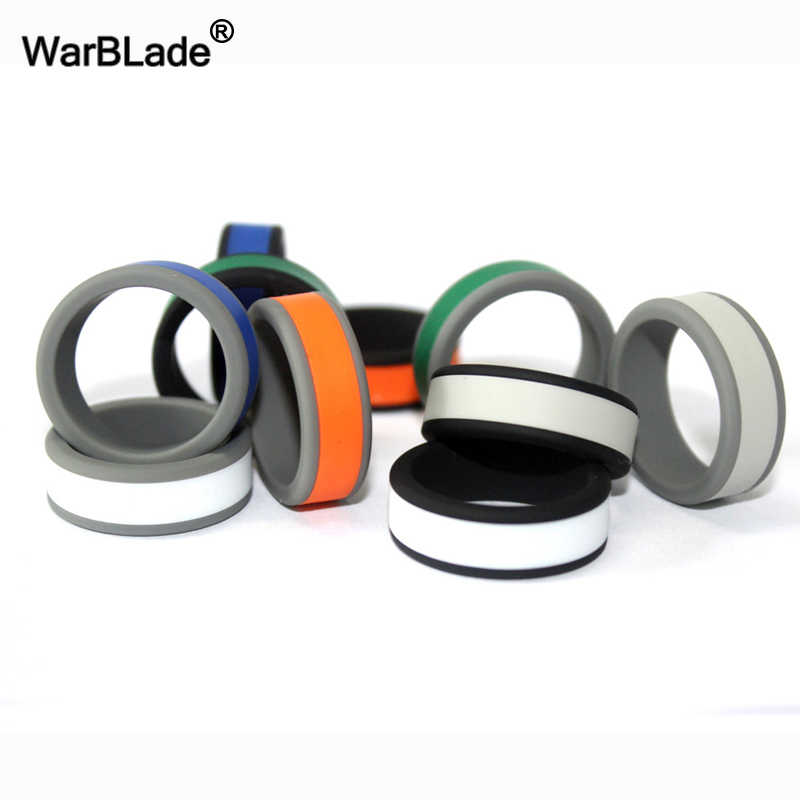 New Fashion 8mm Size 6-13 Hypoallergenic Crossfit Flexible Silicone Ring Can DIY Change Color Rubber Finger Ring For Men Women