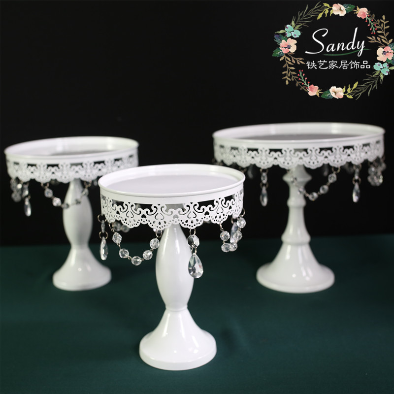 cake stand white iron and glass cake stand wedding party& event cake accessory decoration supplier cake tools
