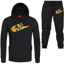 2019 invierno nueva marca chándal de los hombres ropa deportiva conjuntos  de dos piezas de algodón de lana gruesa Sudadera con c. 9faf173011376