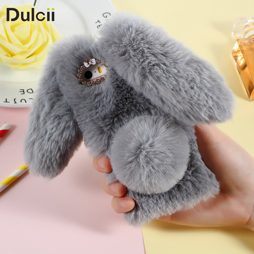 DULCII 6 6s 5 5s 7 8 X Case Lovely Rabbit Warm Fur Fluffy Soft TPU Cover for iPhone6s iPhone7 Plus Bunny Cell Phone Capa