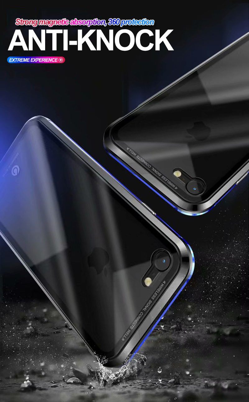 Strong Magnetic Adsorption Case For iPhone X 8 Metal Frame Tempered Glass Case For iPhone 7 8 Plus Built-in Magnet Case
