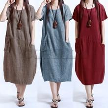 Women Baggy Dress Ladies Midi Summer Dress 2019 Short Sleeve Pocket Vintage Dress Plus Size 3XL 4XL 5XL Casual Loose Robe Dress цена и фото