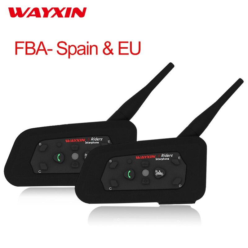 WAYXIN Helm Intercom-Headset Bluetooth Intercom Für Motorrad R6 Intercom Motorrad Bluetooth Headset 2 stücke