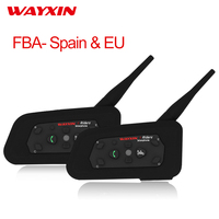 WAYXIN Helmet Headset Intercom Bluetooth Intercom For Motorcycle R6 Intercom Motorcycle Bluetooth Headset 2PCS