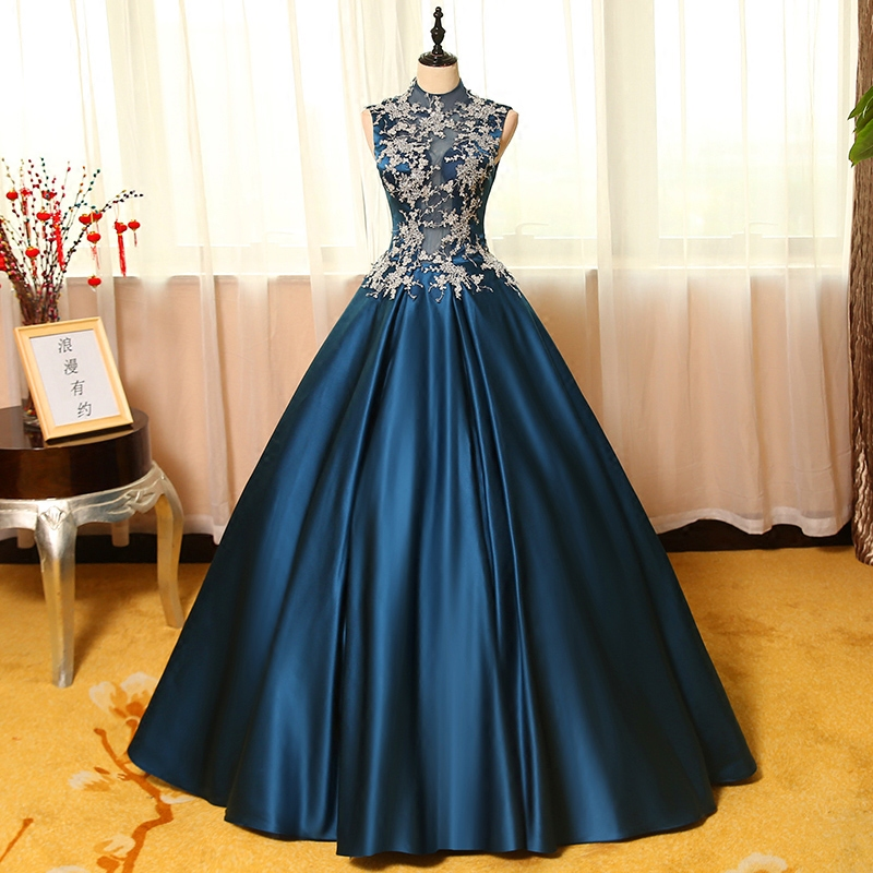 100%real navy blue silver embroidery theme court ball gown medieval ...