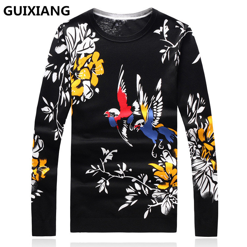 GUIXIANG 2019 Autumn New Men's Casual Sweater O-Neck Knitting Mens Sweaters  Bird Printing Pattern Sweater Men Full Size M-4XL