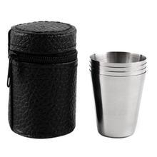 100 Декодер каналов кабельного телевидения 4 шт./компл. походная чашка из нержавеющей стали кружка Открытый Кемпинг Пеший Туризм складной Портативный для чая, кофе, пива чашка с черная сумка SN666