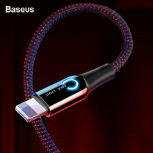 Baseus Auto Disconnect USB Cable For iPhone X Xs Max Xr 8 7 6 2.4A Fast Charging Charger Data Sync Cable LED Lighting USB Cord